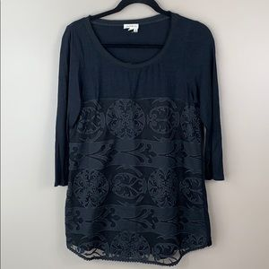 Anthropologie meadow rue black lace tunic top med